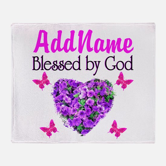 BLESSED BY GOD Throw Blanket