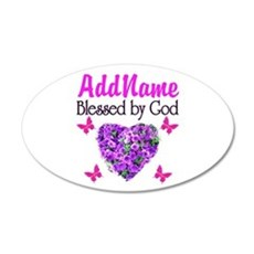 BLESSED BY GOD 20x12 Oval Wall Decal