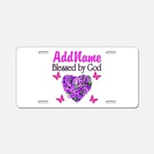 BLESSED BY GOD Aluminum License Plate