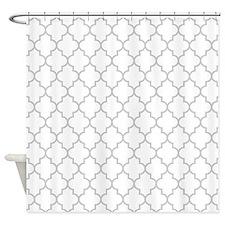 White Gray Quatrefoil Shower Curtain