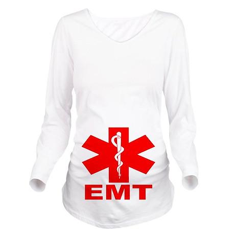 Red EMT Long Sleeve Maternity T-Shirt