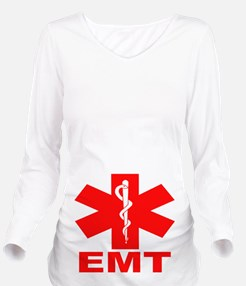 Red EMT Long Sleeve Maternity T-Shirt
