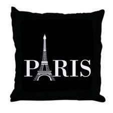 Paris Eiffel Tower Black White Throw Pillow