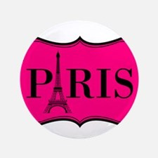 "Paris Pink and Black Eiffel Tower 3.5"" Button (100"