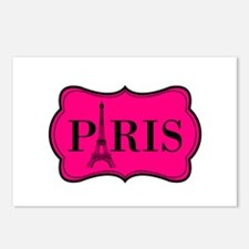 Paris Pink and Black Eiffel Tower Postcards (Packa