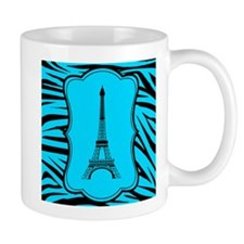 Teal And Black Zebra Eiffel Tower Mugs