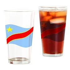 Waving Congo Democratic Republic Flag Drinking Gla