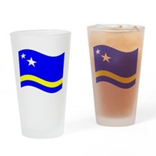 Waving Curacao Flag Drinking Glass