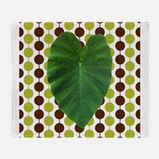 Leaf Heart on Brown and Green Throw Blanket