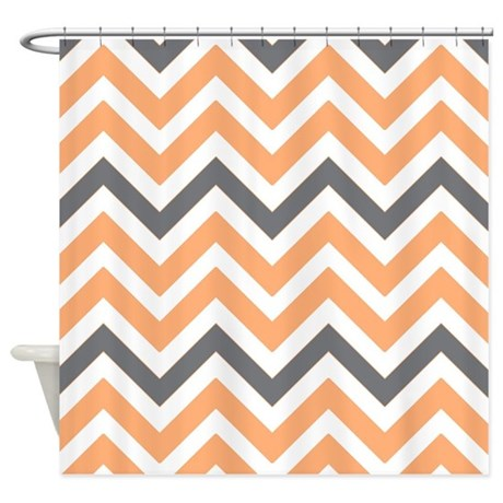 Peach And Gray Chevrons Shower Curtain By Laughoutlouddesigns1