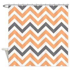 peach and Gray chevrons Shower Curtain