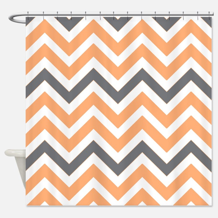 Peach And Gray Chevron Shower Curtains