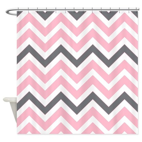 Light pink and gray chevrons shower curtain by for Light pink shower curtain