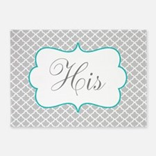 Gray Teal Quatrefoil Personalized 5'x7'Area Rug
