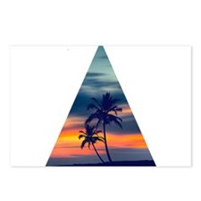 Palms and sunset Triangle Postcards (Package of 8)