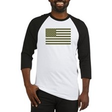 American Flag - Olive Drab Baseball Jersey