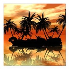 "Island Square Car Magnet 3"" x 3"""