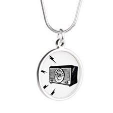 Old Radio! Silver Round Necklace
