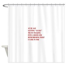 at-my-age-BOD-RED Shower Curtain