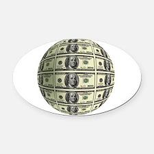 U.S. Dollar Planet Oval Car Magnet