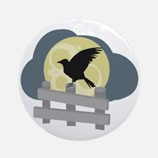 Raven On Fence Ornament (Round)