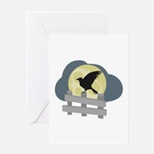 Raven On Fence Greeting Cards
