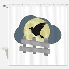 Raven On Fence Shower Curtain