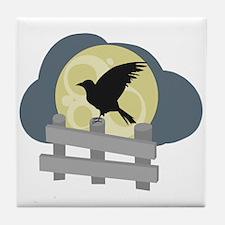 Raven On Fence Tile Coaster
