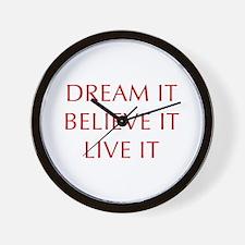 DREAM-IT-BELIEVE-IT-LIVE-IT-OPT-RED Wall Clock