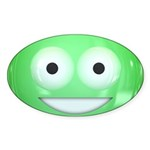 Candy Smiley - Green Sticker (Oval 50 pk)