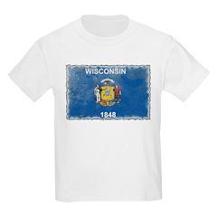 Vintage Wisconsin Flag Kids Light T-Shirt