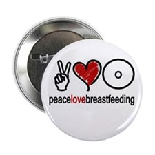 """Peace, Love & Breastfeeding 2.25"""" Button (10 pack"""