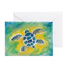 WATERCOLOR HONU DECAL Greeting Card