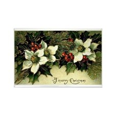 Vintage Christmas Poinsettias Rectangle Magnet