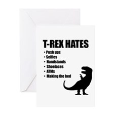 T-Rex Hates Bullet List Greeting Cards
