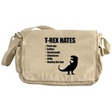 T rex hates Canvas Messenger Bags