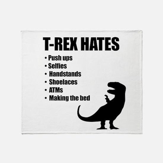 T-Rex Hates Bullet List Throw Blanket
