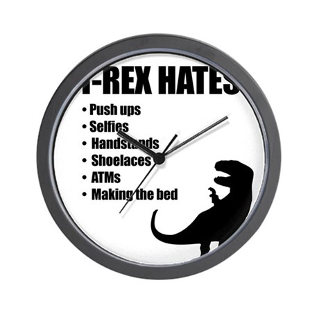 T-Rex Hates Bullet List Wall Clock