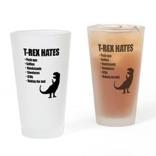 T-Rex Hates Bullet List Drinking Glass