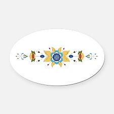 Scandinavian Floral Border Oval Car Magnet