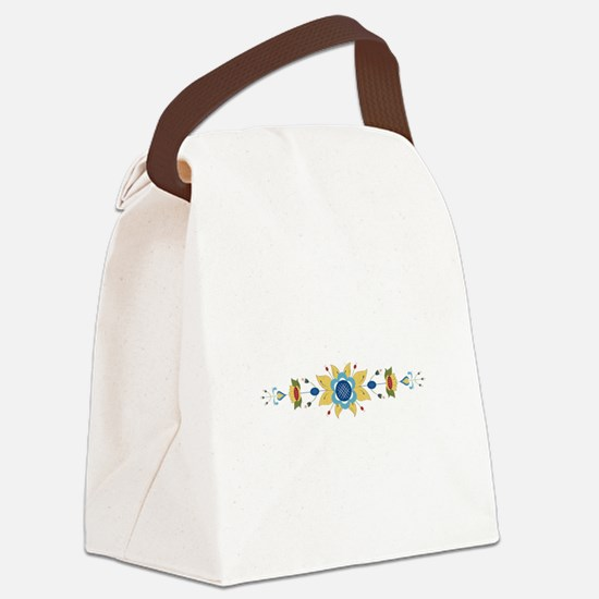 Scandinavian Floral Border Canvas Lunch Bag