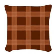 Plaid Orange Brown Woven Throw Pillow