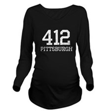 Distressed Pittsburgh 412 Long Sleeve Maternity T-