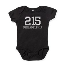 Distressed Philadelphia 215 Baby Bodysuit