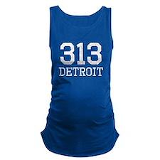 Distressed Detroit 313 Maternity Tank Top