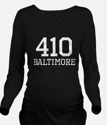 Distressed Baltimore 410 Long Sleeve Maternity T-S