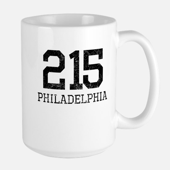 Distressed Philadelphia 215 Mugs
