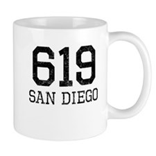 Distressed San Diego 619 Mugs