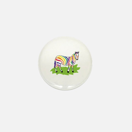 Rainbow Zebra Mini Button (10 pack)