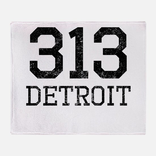 Distressed Detroit 313 Throw Blanket
